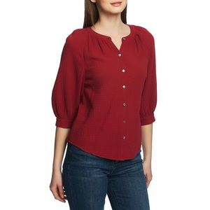 1. State Button Up Cotton Gauze Blouse